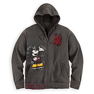 Zip Fleece Mickey Mouse Hoodie for Men