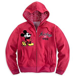 Mickey Mouse Hoodie for Women - Red - Plus Size