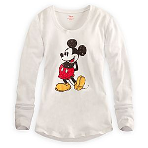 Long Sleeve Thermal Mickey Mouse Tee for Women