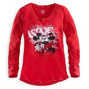 Long Sleeve Thermal Minnie and Mickey Mouse Tee for Women