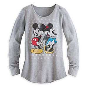 Mickey and Minnie Mouse Long Sleeve Thermal Tee for Women