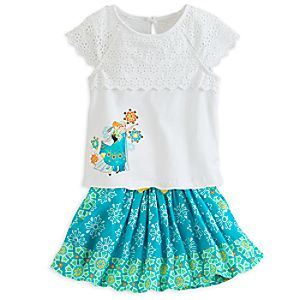 Anna and Elsa Top and Skirt Set for Girls