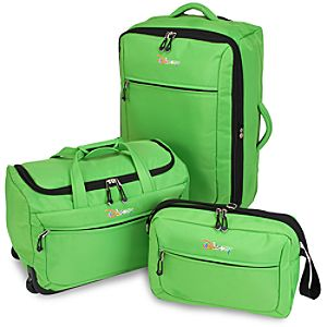 Rolling Disney Luggage Set -- Green 3-Pc.