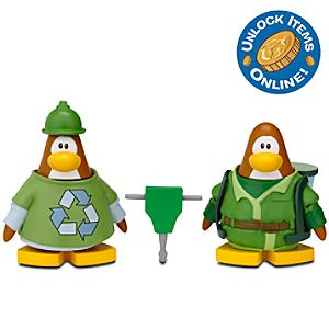Club Penguin 2 Mix N Match Figure Pack -- Green Construction Worker and Water Suit 3000
