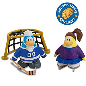 Club Penguin 2 Mix N Match Figure Pack -- Blue Figure Skater and Hockey Player