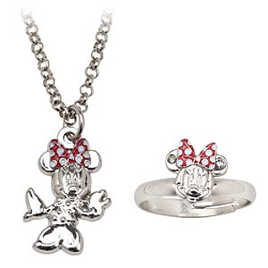 Minnie Mouse Ring and Necklace Set