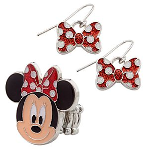 Minnie Mouse Ring and Earrings Set
