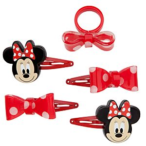 Minnie Mouse Ring and Hair Clips Set