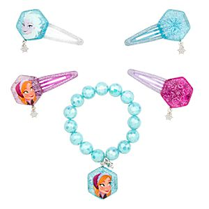 Anna and Elsa Bracelet and Hair Clips Set - Frozen