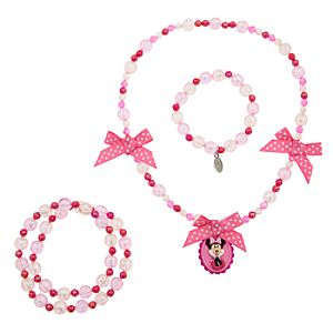 Minnie Mouse Cameo Necklace and Bracelet Set