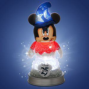 Vinylmation 25th Anniversary Sorcerer Apprentice Mickey Mouse 3 Figure and Light-Up Base