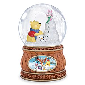 Winnie the Pooh and Piglet with Snowman Musical Water Globe by Precious Moments