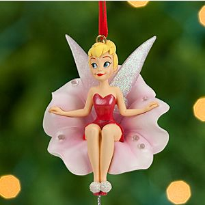 Tinker Bell on Flower Sketchbook Ornament - Red