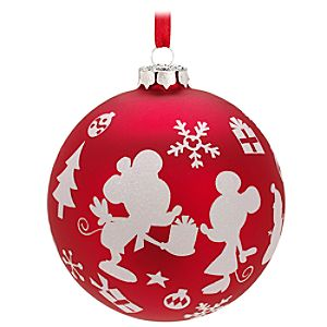 Ball Minnie and Mickey Mouse Ornament