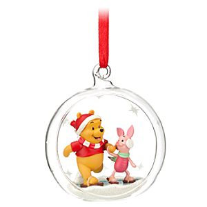 Glass Globe Piglet and Winnie the Pooh Ornament