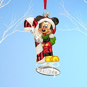 Santa Mickey Mouse Glass Sketchbook Ornament - Personalizable