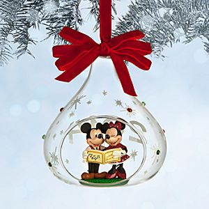 Mickey and Minnie Mouse Glass Sketchbook Ornament - Holiday - 2014