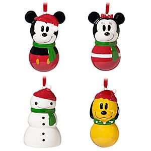 Ceramic Share the Magic Mickey Mouse and Friends Ornament Set -- 4-Pc.