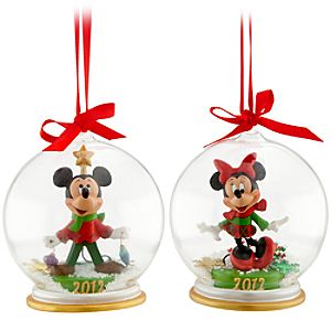 Minnie and Mickey Mouse Snowglobe Ornament Set - Holiday 2012