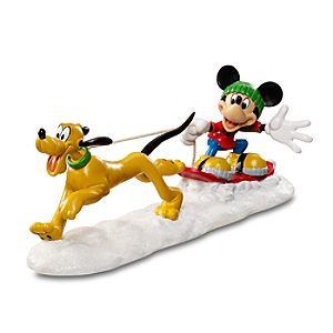 Dog Sledding Pluto and Mickey Mouse Figurine by Dept. 56