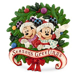Minnie and Mickey Mouse Wreath Plaque by Jim Shore - Seasons Greetings