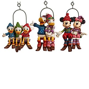 Mickey Mouse and Friends Ski Lift Ornament Set by Jim Shore