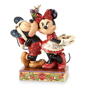 Mickey and Minnie Mouse Under the Mistletoe Figure by Jim Shore