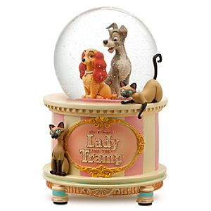 Disney Store 25th Anniversary Lady and the Tramp Snow Globe