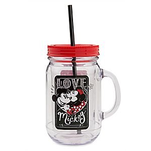 Mickey and Minnie Mouse Jelly Jar with Straw - I Love Mickey Collection