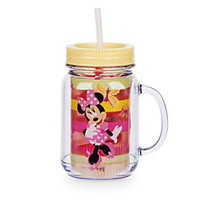 Minnie Mouse Jelly Jar with Straw - Small