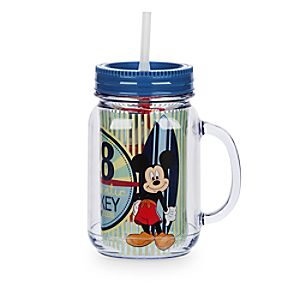 Mickey Mouse Jelly Jar with Straw - Small