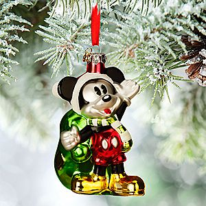 Santa Mickey Mouse Glass Sketchbook Ornament