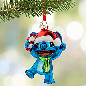 Santa Stitch Glass Sketchbook Ornament