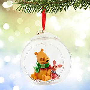 Winnie the Pooh and Piglet Glass Globe Sketchbook Ornament