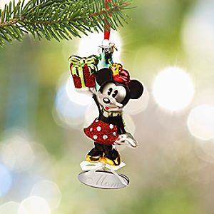 Minnie Mouse Glass Sketchbook Ornament - Personalizable