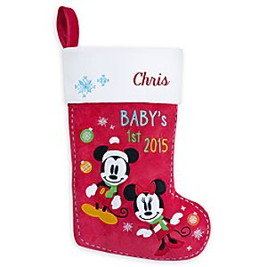 Mickey and Minnie Mouse Babys 1st Holiday Stocking - Personalizable