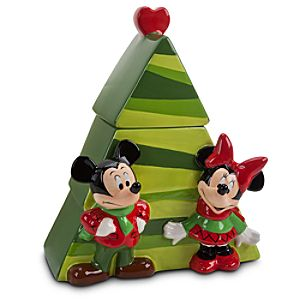 Mickey and Minnie Mouse Cookie Jar - Holiday