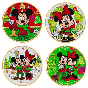 Mickey and Minnie Mouse Plate Set - Holiday