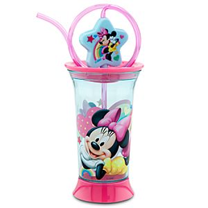 Rainbow Minnie Mouse Spinning Tumbler with Straw