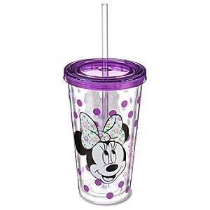 Floral Bow Minnie Mouse Tumbler with Straw