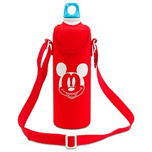 Summer Brights Mickey Mouse Aluminum Water Bottle with Neoprene Cover -- Red