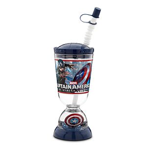 Captain America Snowglobe Tumbler with Straw