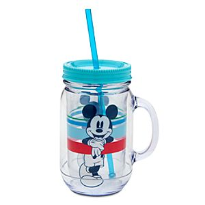 Mickey Mouse Large Jelly Jar with Straw - Summer Fun