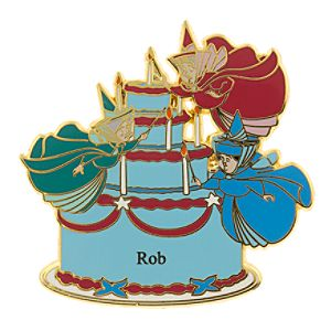 Flora, Fauna & Merryweather Birthday Cake Personalized Pin