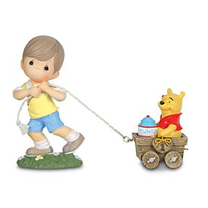 1st Birthday Train Christopher Robin and Winnie the Pooh Figure Set by Precious Moments -- 2-Pc.