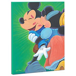 Limited Edition Disney Fine Art Pop! Kisses for Bravery Minnie Mouse and Mickey Mouse Giclée on Canvas