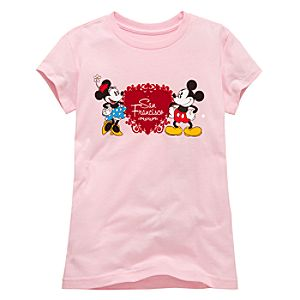 San Francisco Heart Minnie and Mickey Mouse Tee for Girls -- Made With Organic Cotton