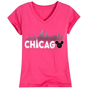 Beaded Chicago Mickey Mouse Tee for Girls -- Pink
