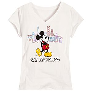 Sequined Skyline San Francisco Mickey Mouse Tee for Girls -- White