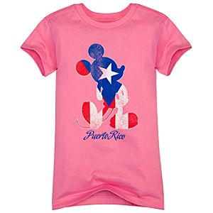 Puerto Rico Flag Mickey Mouse Tee for Girls -- Made with Organic Cotton